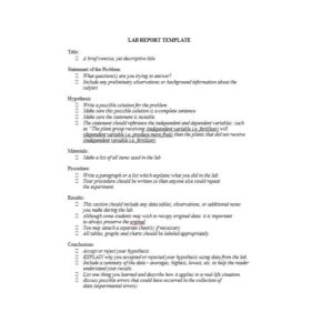 Lab Report Writing Format
